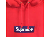 Authentic Classic Supreme Box Logo Hoodie Red Medium