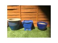 3 Blue glazed terracotta garden pots, different styles and sizes