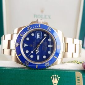 New Mens bagged Gold Bracelet Blue Face Blue ceramic bezel automatic Rolex Submariner watch