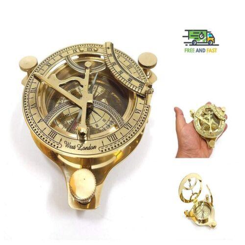 "4.25"" Brass Sundial Compass Anchor West London Etched Nautical Retro Decor"