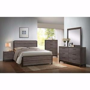Sophisticated & Elegant Weathered Gray Finish 5 Pc Bedroom Set