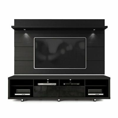 Manhattan Comfort Cabrini 70  Tv Stand With Floating Wall Tv Panel In Black New