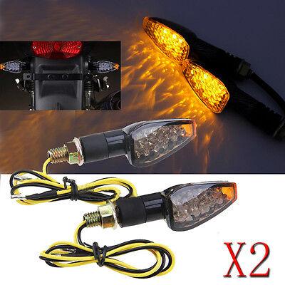 Motorcycle 14 Led Turn Signals Indicators Blinkers Flasher Smoke Lens Universal