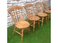 Set of 4 Solid Oak Farmhouse Chairs Rustic