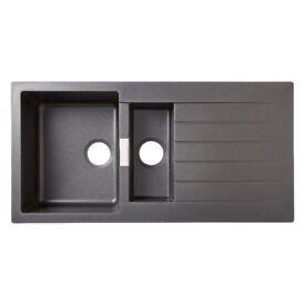 BRAND NEW - Cooke & Lewis Composite Quartz sink 1.5 bowls & drainer - black - Still in box!