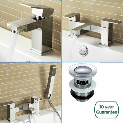 Bathroom Sink Basin Mixer Tap Set Waterfall Bath Filler and Shower Faucet Brass ()