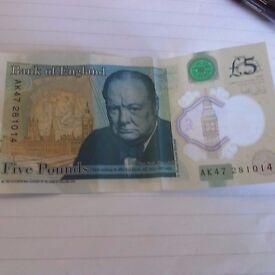 AK47 281 £5 note