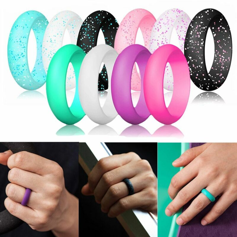 10 Pack Silicone Ring Wedding Rubber Women Sport Workout Band Flexible Ring 7#