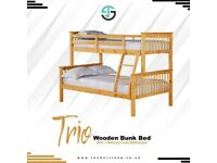 🔴MAKE THE COMFORT DEAL🔵Kids Bed Trio Wooden Bunk Bed In OAK Color Optional mattress