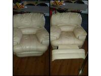 Cream leather armchair VGC