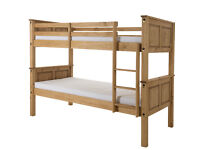 CORONA SINGLE PINE BUNK BED IN WAXED/WHITE FINISH