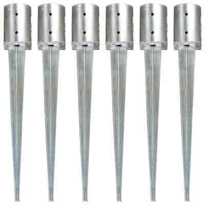 vidaXL 6x Ground Spike Silver Galvanised Steel Soil Garden Arch Outdoor Spear