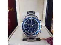 New Silver Omega SeaMaster Blue Bezel Blue Face Comes Omega Bagged and Boxed With Paperwork