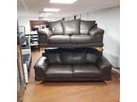 3 and 2 seater sofa in brown leather £275 delivered!