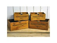 Set Of 4 Richmond Upon Thames London Vintage Wooden Waxed Storage Display Boxes