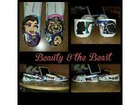 Beauty & the Beast size 4 hand painted shoes