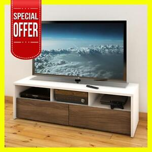 LIQUIDATION MEUBLE TELE TV 60-inch TV Stand 210403 , White and Walnut