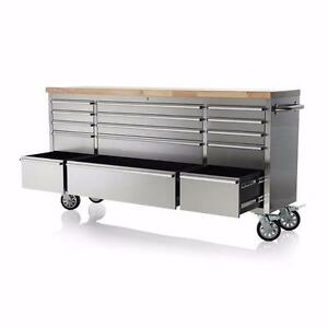 NEW 15 DRAWER 72 IN STAINLESS STEEL TOOL BENCH WORK STATION WOOD TOP BALL BEARING SLIDERS