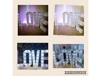 5ft LED LIGHT LOVE LETTER HIRE £100 Giant Heart Arch £175