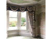 Professionally Made Heavy Huge Cream Lined Curtains with Swags & Tie Backs