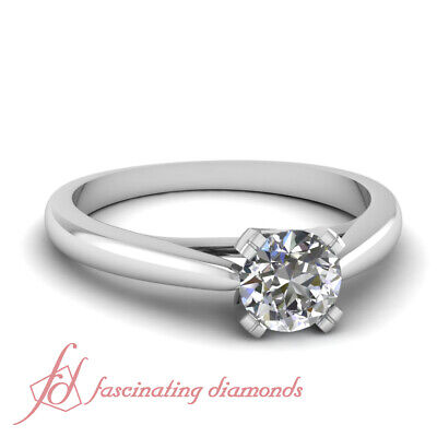 .60 Ct Round Cut Diamond Tapered Solitaire Engagement Ring 14K SI2-F Color GIA