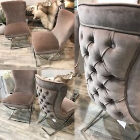 Stunning grey/taupe dining chairs with chrome legs. Set of 4