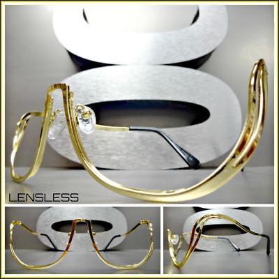 Oversized Retro Style Lensless SUN GLASSES Gold Metal Frame Only NO Lens (Retro Style Glasses Frames)