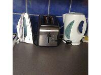 Kettle, Toaster, Iron, glasses, mugs