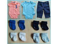 7 Piece Carter's Matching Sailing Print Baby Clothes Bundle Set 3 Months