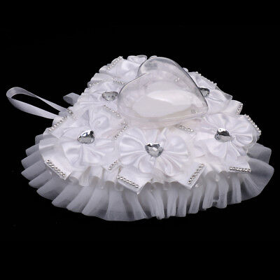 - White Heart Shaped Floral Ring Bearer Pillow for Wedding Decoration
