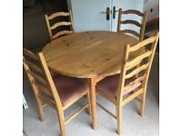 1980's Ducal Pine Table and 4 matching Chairs