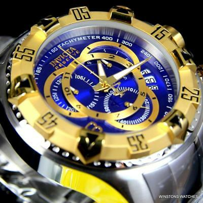 Invicta Reserve Excursion Steel Swiss Mvt Chronograph 52mm Blue 2 Tone Watch New