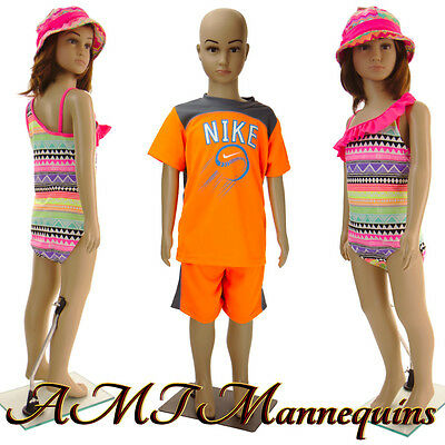 Girl Boy Full Body Mannequinsstand Head Arms Turn 1 Child Manikin Cb11wig