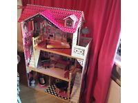 Dolls house - beautiful 3 floor pink and black dolls house