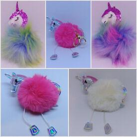Unicorn Faux Rabbit Fur Ball Pom Pom Keychain Kids Doll Toys for Girls Birthday