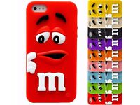 M&M Chocolate Candy Rainbow Bean Silicone Cover Case For Apple iPhone