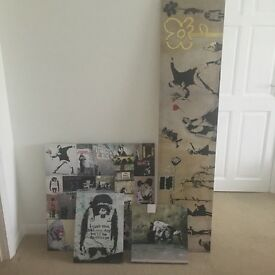 4 Banksy style canvas prints, various sizes. Art and collectibles.