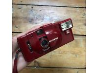 Olympus XA2 compact 35mm f3.5 film camera red
