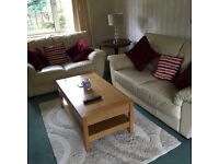 Pair of leather sofas, 1x 2 seater & 1 x 2&half seater, ivory