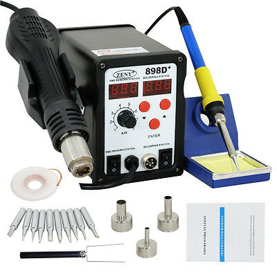 Used 2In1 Smd Soldering Rework Station Hot Air   Iron 898D  11Tips Esd Plcc