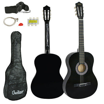"Black Wooden Acoustic Guitar 38"" Full Size Adult Kids W/Case & Pick & Accessorie"