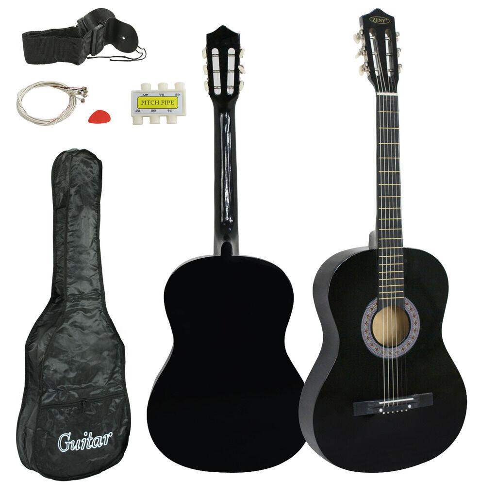 Black 38″ Full Size Acoustic Wooden Guitar Adult Kids W/Case & Pick & Accessorie Acoustic Guitars
