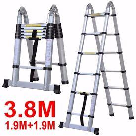 SALE *** 3.8M Multi-Purpose Telescopic Aluminium A Frame Extension Ladder Stabiliser £59.99