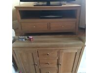 Oak tv stand and side board £120