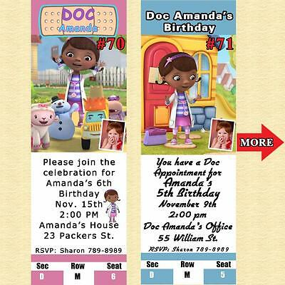 Doc McStuffins Birthday Invitations 10 ea with Env Personalized Custom Made](Doc Mcstuffins Custom Invitations)