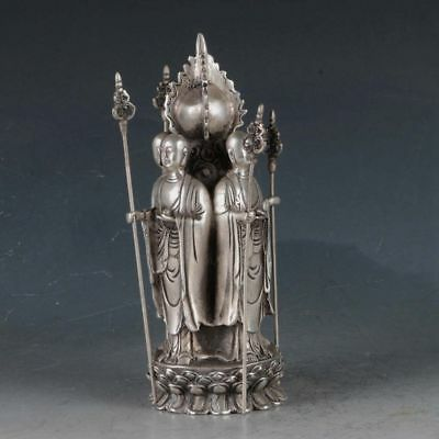 Chinese Silvering Copper Four Holy Man Statue Made During The Da Ming Xuande