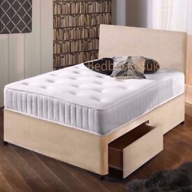 Suede Bed & Memory Foam Sprung Mattress With Free Headboard