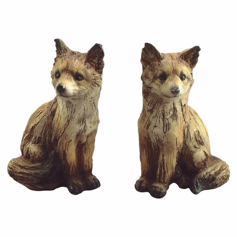 Poly Resin Fox Figurine Pair