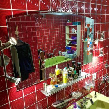 Badezimmerspiegel mit 2 Leuchten und 2 Waschbecken Spiegel