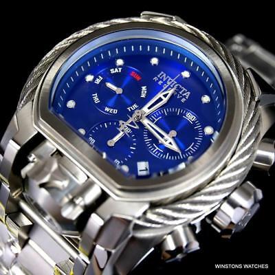 Invicta Reserve Bolt Zeus Magnum Cable Steel Blue Swiss Mvt 52mm Watch New